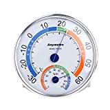 OTGO Household Analog Thermometer Hygrometer Round Temperature Humidity Weather Meter,Stainless Steel,129 x 20mm