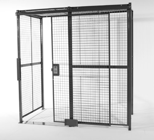 WireCrafters A1010104WC Welded Wire Mesh 4 Sided Cage with 5' Sliding Door and Ceiling, 10'4