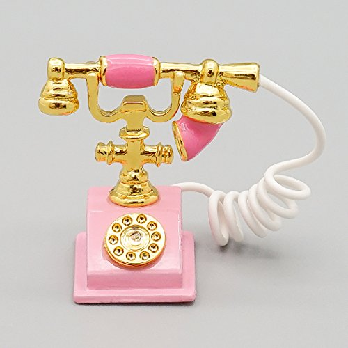 Odoria 1:12 Miniature Old-Fashioned Pink Rotary Telephone Dollhouse Decoration Accessories