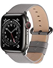 Fullmosa Leather Bands Compatible Apple Watch Band 38mm 40mm 42mm 44mm iWatch Band Series 5 4 3 2 1 for Men and Women, 38mm 40mm Grey + Smoky Grey Buckle