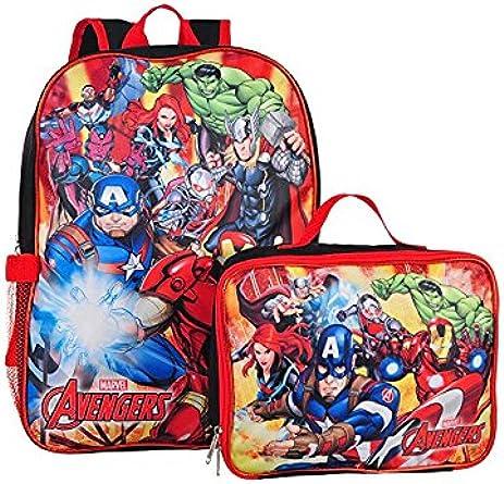 Fashion Avengers Boys School Backpack Lunch Box SET Book Bag Kids Super Heroes