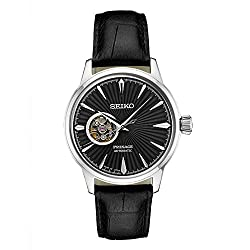 Seiko Men's Presage Automatic Cocktail Time Black Dial Leather Band Dress Watch - Model: SSA359