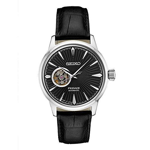 - Seiko Men's Presage Automatic Cocktail Time Black Dial Leather Band Dress Watch - Model: SSA359