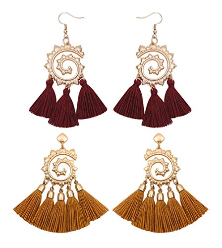 Geerier 2pcs Vintage Spiral Earrings Boho Tassel Earrings for Women Handmade Pink Brown Fringe Tassels Earrings Gold Plated