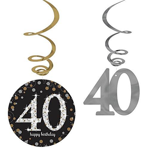 Amscan Party Supplies Sparkling Celebration 40 Value Pack Foil Swirl Decorations (12 Piece), Multi Color, One Size -