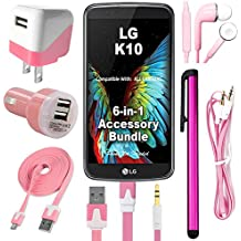441 Wireless 6 Item Premium Accessory Bundle for LG K10 (metroPCS, T-Mobile) Includes: Dual USB Car & Home Charger, Data Cable, Stereo Headphones, Auxiliary Cord & Stylus Pen. (6 Piece - Light Pink)
