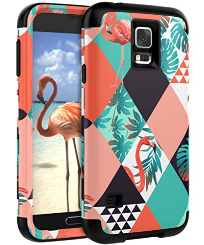 XIQI Samsung Galaxy S5 Case Three Layer Heavy Duty Shockproof Cute Girls Woman Anti-Scratch Protective Case