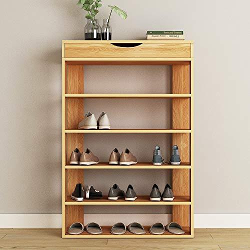 SogesHome Shoe Rack 5 Tier Free Standing Shoes Shelf 29.5inch Wooden Shoe Storage Shelf Shoe Organizer,Teak L24-TK-SH ()