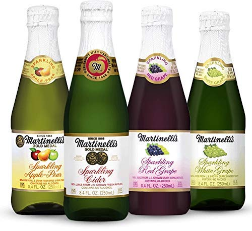 Martinelli's Sparkling Party Drinks, 4 Flavor Variety Pack, | Apple Cider, Apple Pear, Red and White Grape Juice | 12 Pack of 8.4 oz Bottles