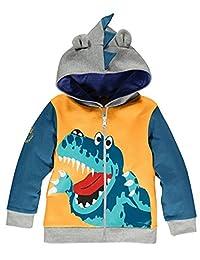 Little Boys Dinosaur Hoodies Cotton Zipper Jackets Kids Sport Spring Sweatshirts for Toddler Boy Clothes 1-6 T