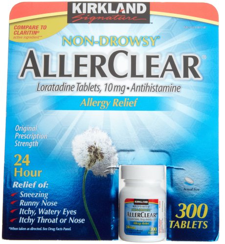 Kirkland Non-Drowsy AllerClear Lortadine Tablets, (10 mg) Antihistamine, 300-Count Tablets