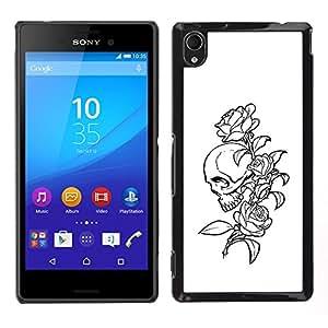 LECELL--Funda protectora / Cubierta / Piel For Sony Xperia M4 Aqua -- Floral del cráneo de Rose B & W --