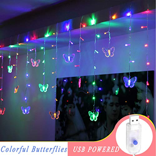 B bangcool 80 Butterflies USB Powered LED String Lights, 8.2ft Waterproof Decorations Light Decor for Indoor/Outdoor Christmas, Birthday, Holiday, Valentine Wedding Decoration (Light Butterfly)