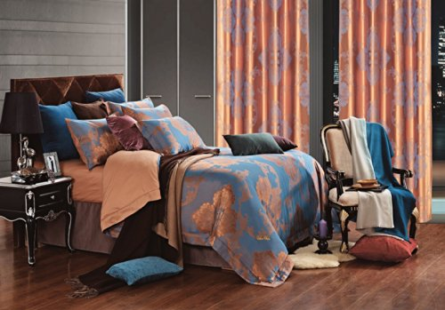 Freya Print (Freya - Jacquard Damask - 6 Pc. Queen Duvet Cover Luxury Bedding Set - Entire Set Includes: (1 Duvet Cover, 1 Fitted Bed Sheet, 2 Shams, 2 Pillow Cases) -)