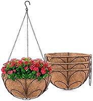 MICGEEK 4 Pack Hanging Planter Basket with Coconut Fiber Liner, 12 inches Metal Hanging Basket for Flower, Coc