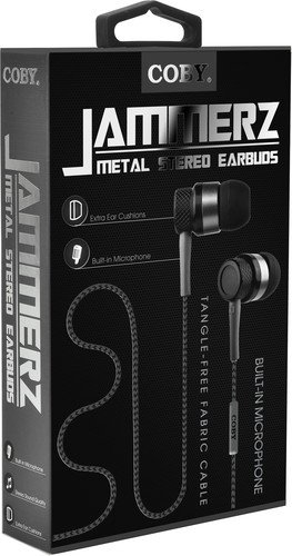 Coby CV-E200BK Jammerz Metal Stereo Earbuds CVE200 Black