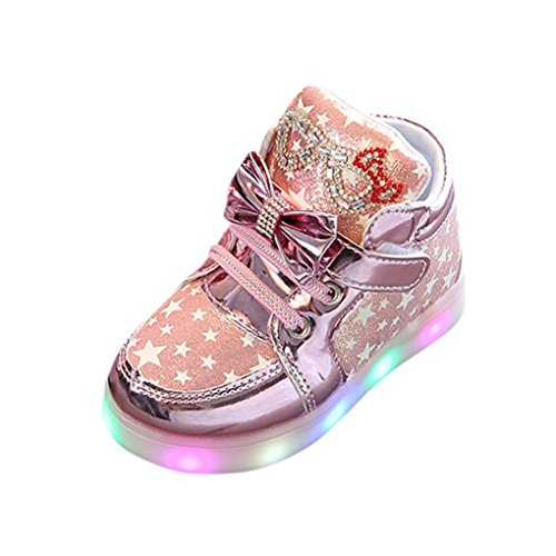(Lurryly Newborn Baby Girls Boys Sneakers Star Luminous Colorful Light Shoes 1-6 T (Age:2-2.5T, US:7, Pink))