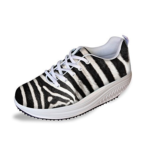 FOR U DESIGNS Womens Stripe Comfort Wedge Platform Shoes Breathable Sneaker US 8 by FOR U DESIGNS