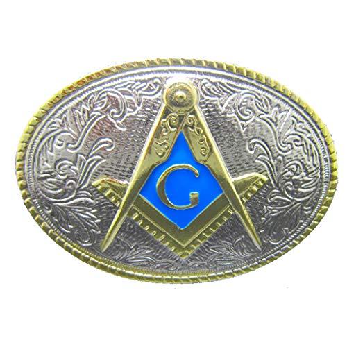 Oval Gold Mason Belt Buckle Freemasonry Masonic Gifts Buckles for Belts Men Blue Western Belts Buckles