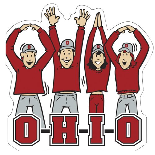 Victory Postcards NCAA Ohio State Buckeyes Letters People Car Magnet, 6