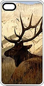Big Elk On Grassy Plain White Rubber Case for Apple iPhone 5 or iPhone 5s