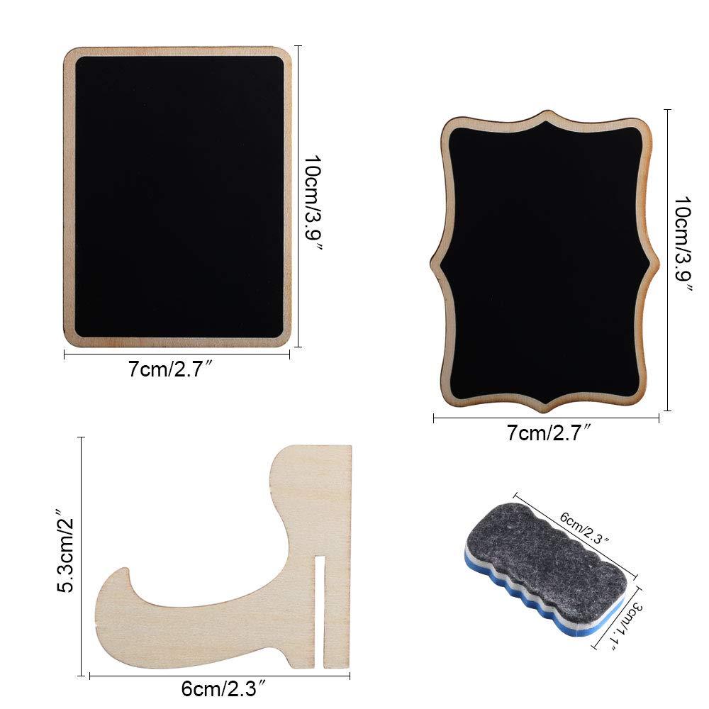 ETSAMOR 20Pcs Mini Ardoise Bois Tableau avec Support Base Mini Tableau Noir pour D/écoration de Mariage Photo Tags