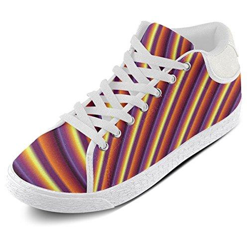 Artsadd Glanzende Kleurrijke Gradiënt Strepen Chukka Canvas Schoenen Voor Dames (model003)