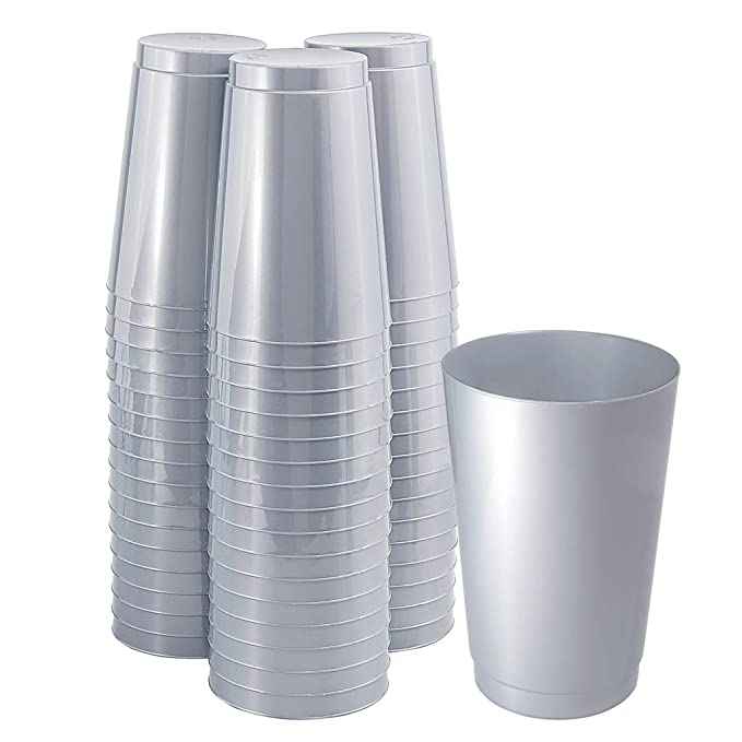 100 Pieces Plastic Gray Cups, 12 OZ Solid Gray Disposable Cups for Any Party