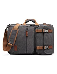 Amzbag Laptop Bag Convertible Backpack Messeng Bag Laptop Case 17 Inches Water-Resistance Canvas Handbag Business Briefcase Multi-Functional Travel Rucksack for Men/Women(Dark Grey)
