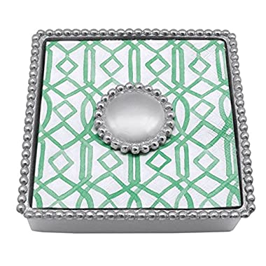 Mariposa Round Pearl Beaded Napkin Box
