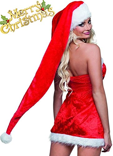 5i-BEAUTY 33.4'' Christmas Santa Hats For Adults Plush Red Santa Hat With White Trim B034