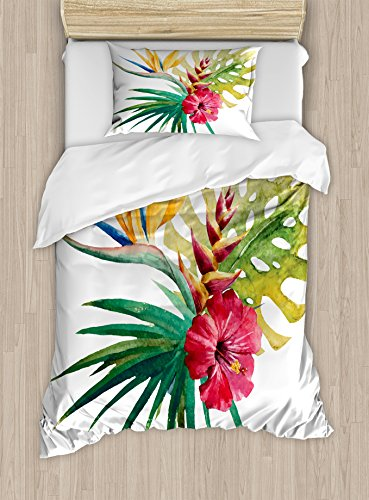 Ambesonne Floral Duvet Cover Set Twin Size, Wild Tropical Orchid Flower with Large Leaves Exotic Tropic Petals Picture, Decorative 2 Piece Bedding Set with 1 Pillow Sham, Fuchsia Forest (Fuchsia Quilt Fabric)