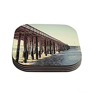 "Kess InHouse Bree Madden ""Ventura Pier"" Coasters, 4 by 4-Inch, Brown, Set of 4"