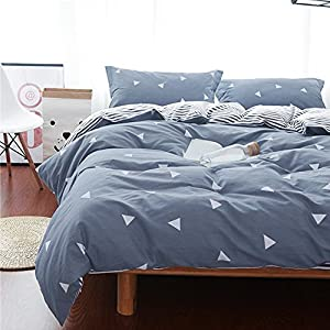 Uozzi Bedding 3 Piece Triangle Duvet Cover Set Queen, Reversible Printing with Brushed Microfiber, Soft, Thin, Breathable Material for Summer, Simple Comforter Cover 3PC Bedding Set (Gray-blue, Queen)