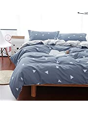 Uozzi Bedding Comforter Set Queen Size Blue Gray with White Triangles Print Reversible Down Alternative 800 TC Kids Adult Duvet Sets 1 Microfiber Comforter with 2 Pillow Shams