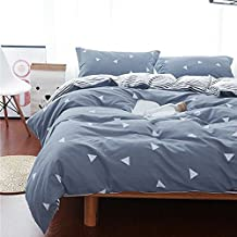 Uozzi Bedding 3 Piece Triangle Duvet Cover Set Queen, Reversible Printing with Brushed Microfiber, Soft, Thin, Breathable Material for Summer, Simple Comforter Cover for Kids,Adults (Gray-blue, Queen)
