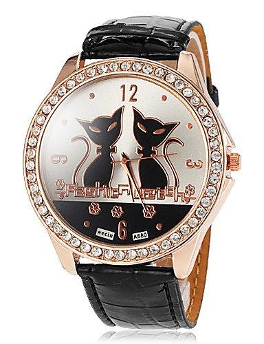 Xin & ZA Mujer Mode Reloj Quartz PU banda de cartón negro/blanco Marca de
