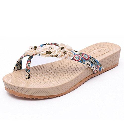 TAOFFEN Mujer Zapatos Moda Chancletas Clip Toe Verano Chaussons Azul
