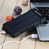 YOUNGFLY 50pcs Dual 20000mAh Solar Charger Sunpower Panel Power Bank Waterproof, Dust-Proof and Shock-Resistant Led Light, With Compass + USB Cable + Hook (Black)