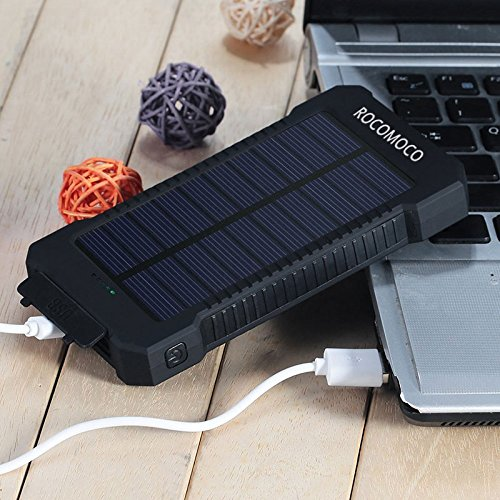 YOUNGFLY 20pcs Dual 10000mAh Solar Charger Sunpower Panel Power Bank Waterproof, Dust-Proof and Shock-Resistant Led Light, with Compass + USB Cable + Hook (Black)