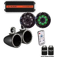JL Audio HX280/4 Powersports Amp with Kicker KMTES speaker enclosure and LED OEM 6.5 Kicker Marine Speakers