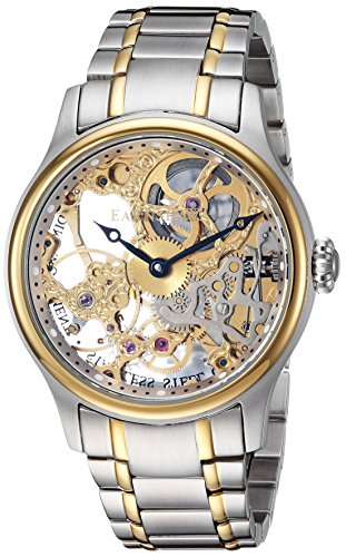 Thomas Earnshaw Men's Bauer MACHANICAL Skeleton Mechanical-Hand-Wind Watch with Stainless-Steel Strap, Two Tone, 10 (Model: ES-8049-22)