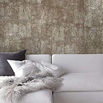 Wallpaper wall coverings roll brown metallic modern faux rustic stone slab tiles