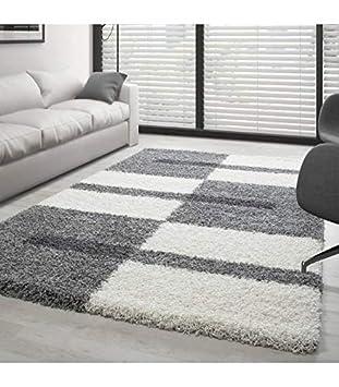 Carpettex Teppich Tapis Gala Shaggy Designe Pile Longue Gris-Blanc-Gris  Claire - 120x170 cm