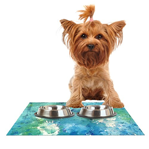 Kess InHouse CarolLynn Tice Sporatically  Teal Green Feeding Mat for Pet Bowls, 24 by 15-Inch