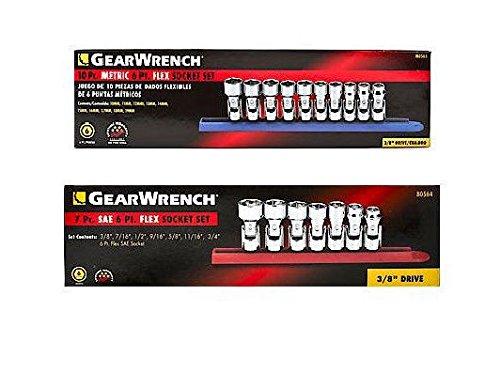 GearWrench 80564 7pc SAE Flex Socket Set & 80565 10pc Metric Flex Socket Set ()