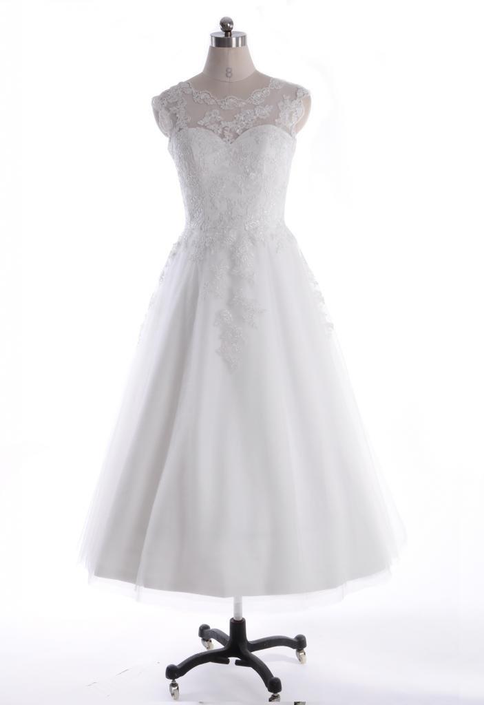 Azaleas Women's Sheer Lace Scoop Tea Length Wedding Dresses 10 US Ivory