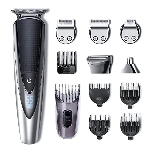 Hatteker Mens Beard Trimmer Kit Body Mustache Trimmer Hair Trimmer for Nose Ear Grooming Trimmer Kit Body Grommer for Men Waterproof Cordless USB Rechargeable All-in-One ()