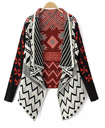 Women's Long Sleeve Open Front Knitted Geometric Pattern Short Cardigan Sweater Coat Black