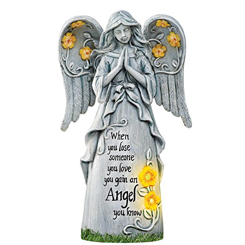 Collections Etc Solar Powered Angel Memorial Statue for Home